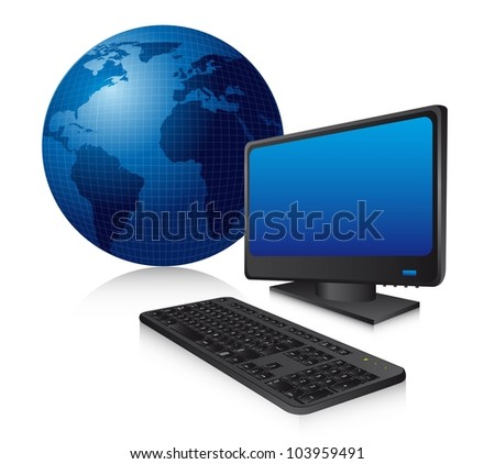 blue computer with keyboard and planet with shadow. vector