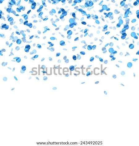 Blue confetti background. Seamless horizontal pattern. Metallic foil. - stock vector