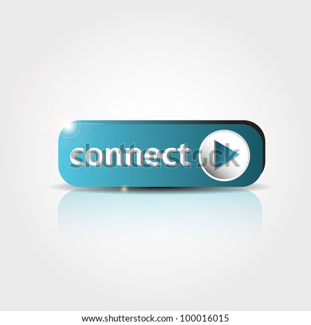 blue connect button with shadow and reflections - stock vector