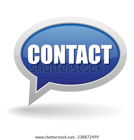 Blue contact speech bubble on white background - stock vector