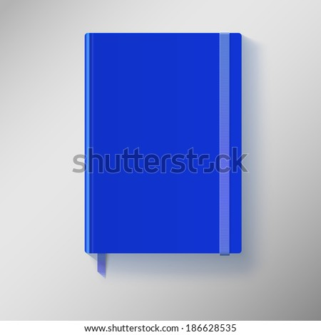 Blue copybook with elastic band and bookmark. Vector illustration. - stock vector