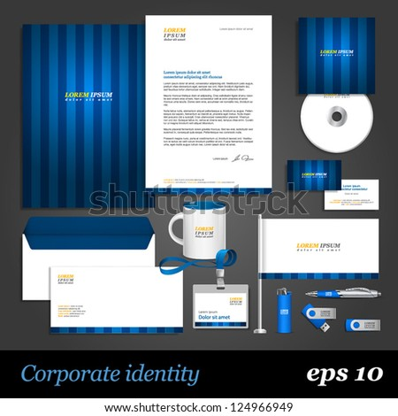 Blue corporate identity template. Vector company style for brandbook and guideline. EPS 10 - stock vector