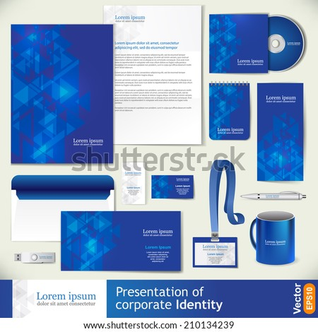 Blue corporate identity template with digital elements. Vector company style for brandbook and guideline.  - stock vector