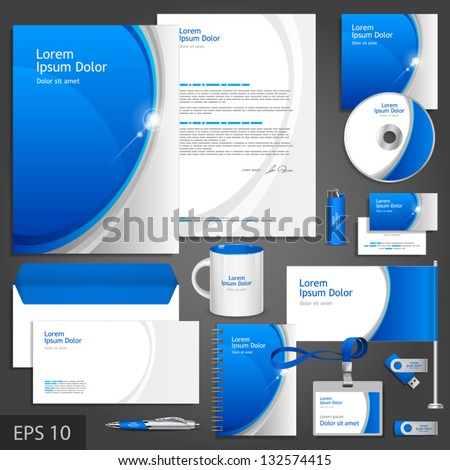 Blue corporate identity template with round elements. Vector company style for brandbook and guideline. EPS 10 - stock vector