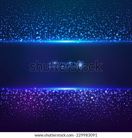 Blue cosmic star dust abctract vector background