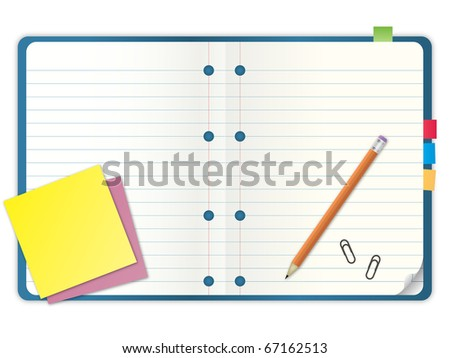 blue cover blank notebook with grid line paper open two pages with pencil and stationary vector illustration - stock vector