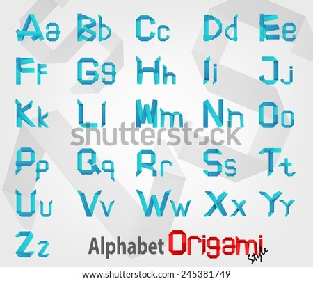Blue Creative Alphabet Origami with Uppercase and Lowercase fonts - stock vector