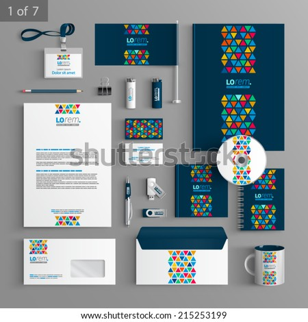 Blue creative stationery template design with color triangles similar to stained glass. Documentation for business. - stock vector