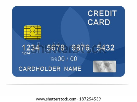Blue credit card. Vector