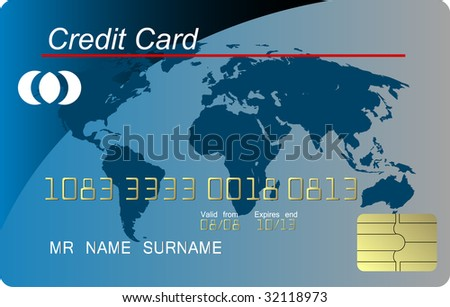 Blue credit card vector, highly detailed - stock vector