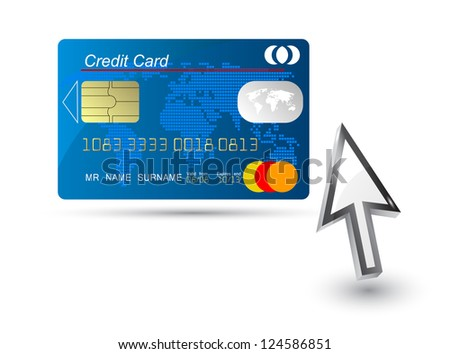 blue credit card vector with computer cursor - stock vector
