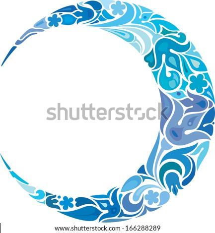 Blue crescent - stock vector