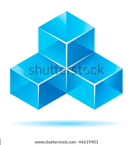 Blue cube design for business artwork - stock vector