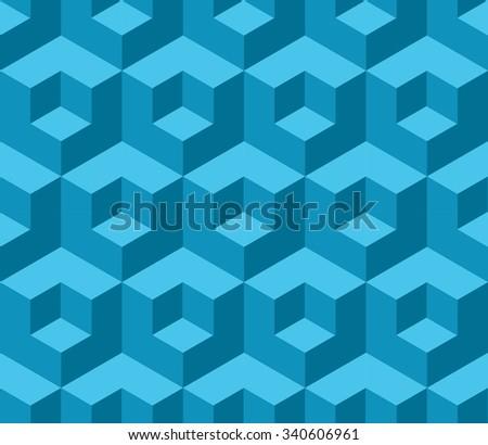 Blue cubic geometric seamless pattern - stock vector