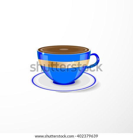 blue cup and saucer on a light background  - stock vector