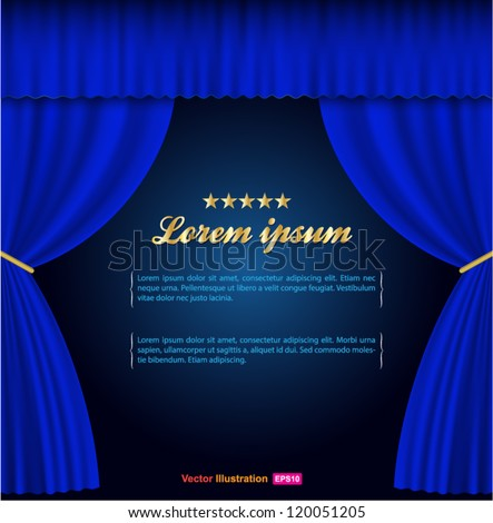 blue curtain background - stock vector