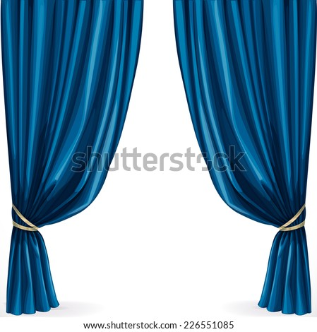 Blue curtain isolated on a white background - stock vector