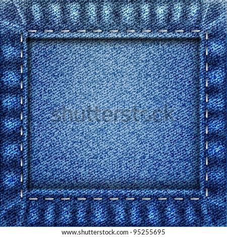 Blue curtain jeans texture - stock vector