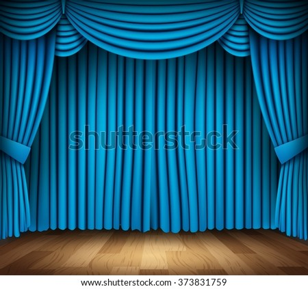 Blue curtain of classical theater with wood floor - stock vector