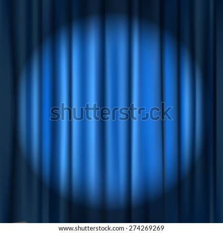blue curtain theater background - stock vector