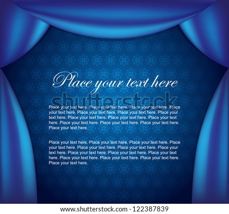 Blue curtain vector background. Easy to edit. Perfect for invitations or announcements. - stock vector