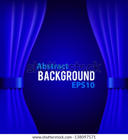 Blue curtains background with sample text vector illustration - stock vector