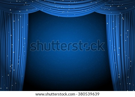 blue curtains on blue background with glittering stars. open curtains as theater or movie presentation or cinema award announcement with space for text. raster - stock vector
