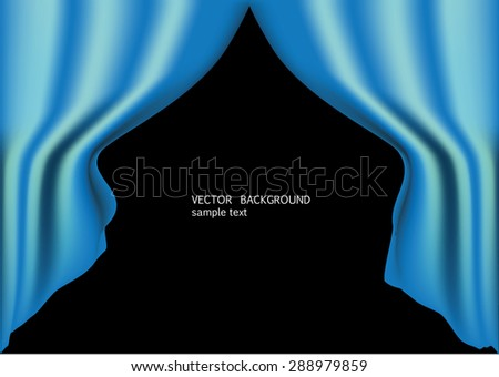 blue curtains vector image - stock vector