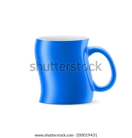 Blue curve a cup of something stay on white background - stock vector