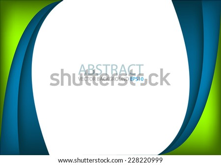 Blue curve and green line background on white space overlap layer for text and message modern artwork design - stock vector