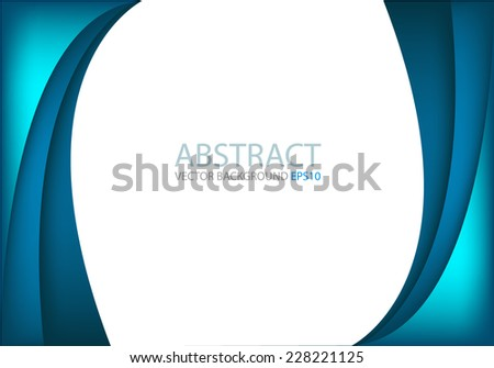 Blue curve and line background on white space overlap layer for text and message modern artwork design background - stock vector