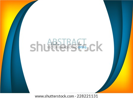 Blue curve and orange line background on white space overlap layer for text and message modern artwork design background - stock vector