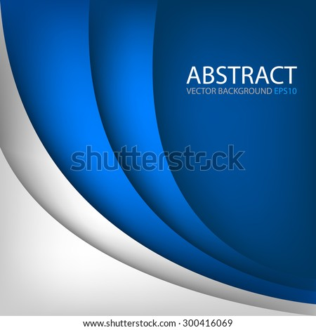 Blue curve line vector background and white paper overlap layer for text and message modern website design - stock vector