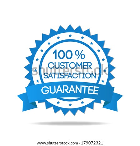 Blue customer service badge isolated - stock vector