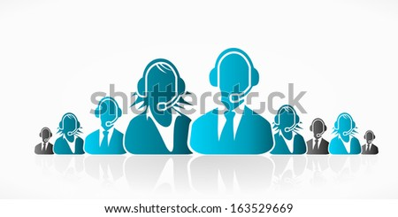 Blue customer service people group abstract silhouettes  - stock vector