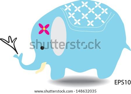 blue cute elephant - stock vector