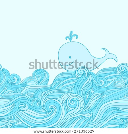 Blue cute whale in the sea waves. Hand-drawn cartoon style illustration.  - stock vector
