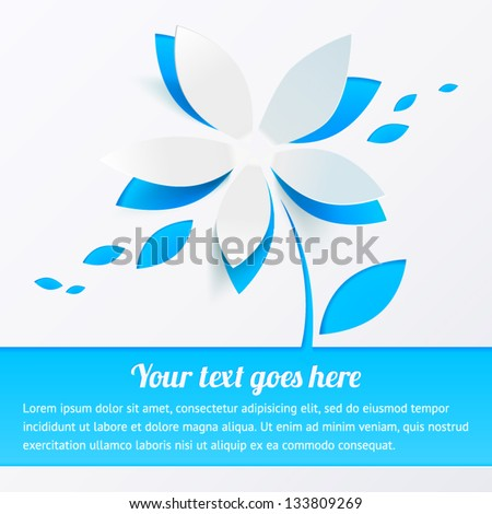 Blue cutout paper flower vector greeting card with place for your text - stock vector