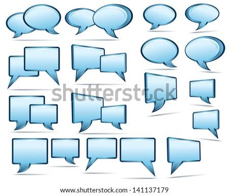 Blue 3D and 2D Speech Bubbles - stock vector