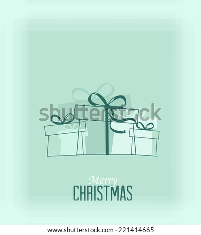 Blue decorative christmas presents, vector Christmas card - stock vector