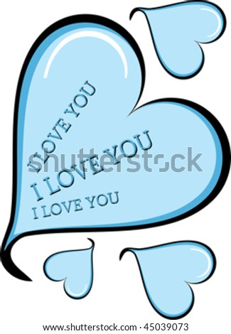 blue decorative heart with place for text - stock vector