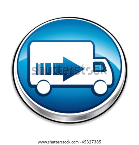 Blue delivery concept button. Vector illustration. - stock vector