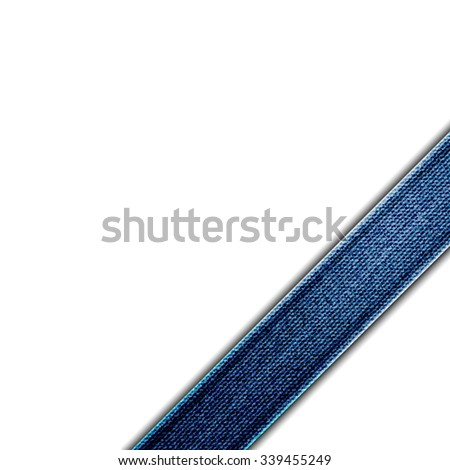 Blue Denim corner ribbon - stock vector