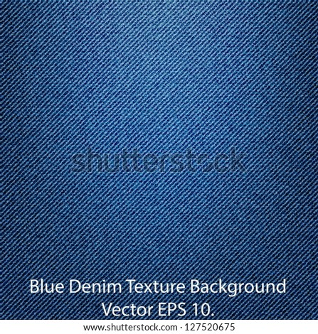 Blue Denim Texture Background, Vector EPS 10. - stock vector