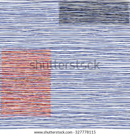 Blue denim with stripes, burlap, quilting, imitation of natural fibers handmade art work, seamless background. - stock vector