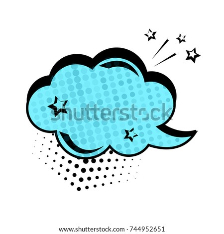 Blue dialog box, banner set. Colored empty cloud with dots and stars.Comic sound effects in pop art style. Vector illustration.