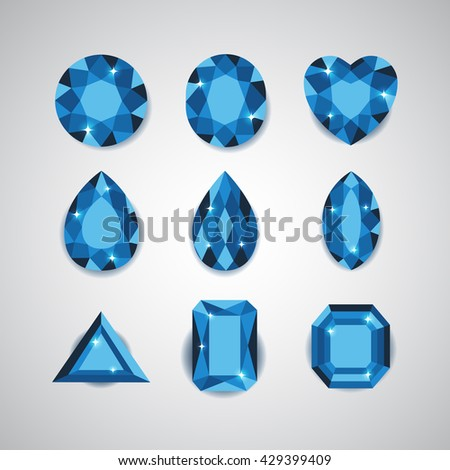 Blue Diamonds and Ruby Vector Icons Set