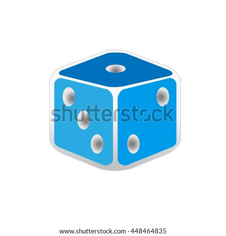 Blue dice icon - stock vector