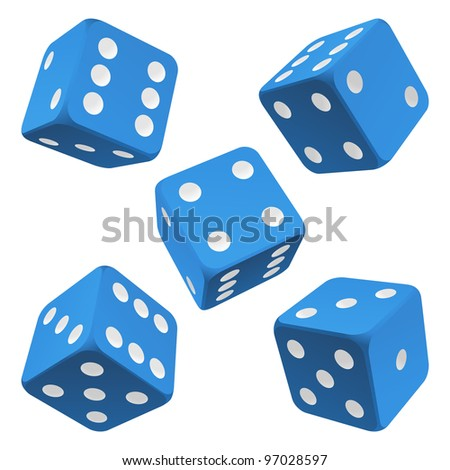 Blue dice set. Vector icon - stock vector