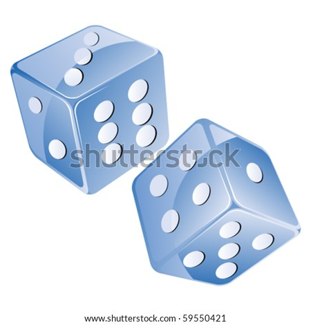 Blue dices, isolated objects against white background - stock vector